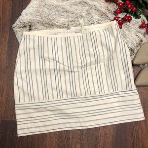 Madewell Cotton Linen white striped mini skirt